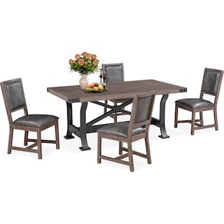 Newcastle Dining Table and 4 Side Chairs - Gray