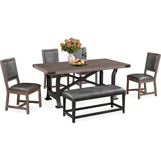 Newcastle Dining Table, 4 Side Chairs and Bench - Gray