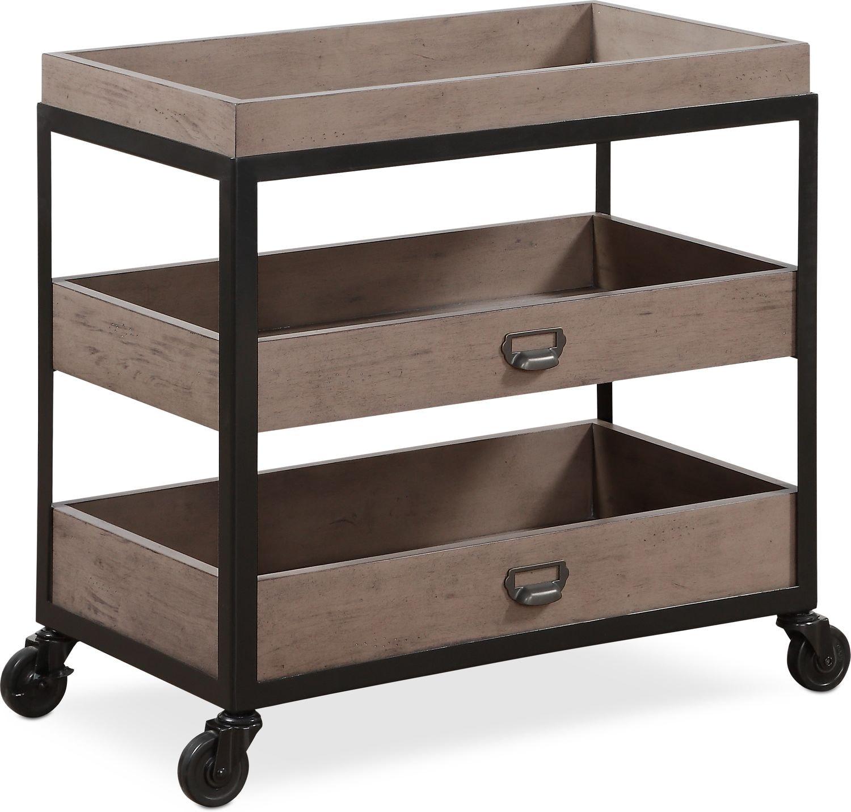 Bedroom Furniture - Hampton Open Metal Nightstand - Gray