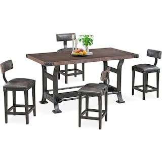 Newcastle Counter-Height Dining Table and 4 Stools - Gray