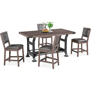 Newcastle Counter-Height Dining Table and 4 Side Chairs - Gray