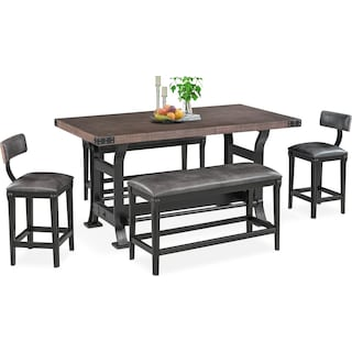 Newcastle Counter-Height Dining Table, 2 Stools and 2 Benches - Gray