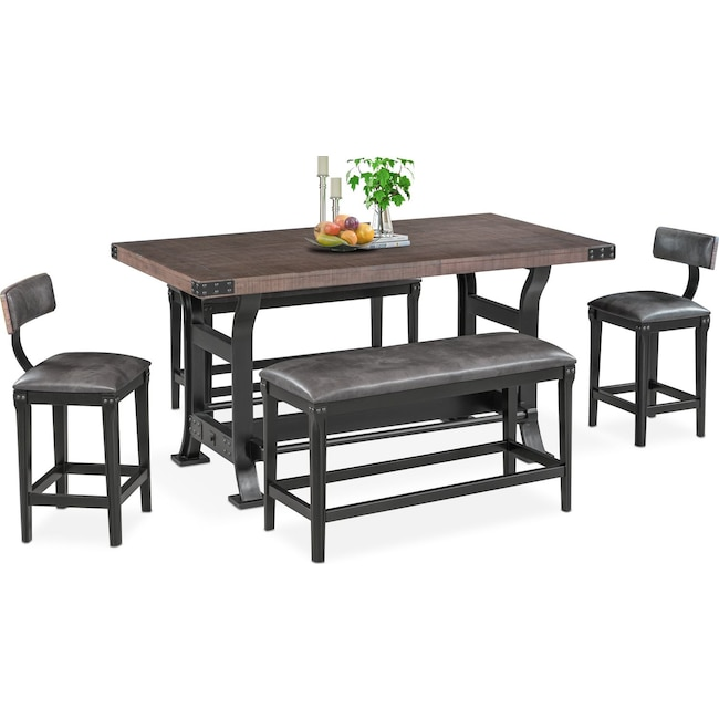 Dining Room Furniture - Newcastle Counter-Height Dining Table, 2 Stools and 2 Benches - Gray