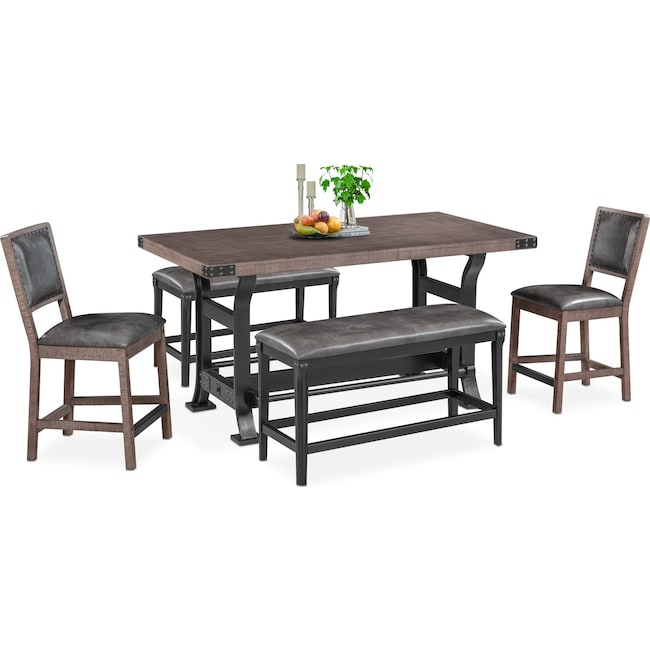 Dining Room Furniture - Newcastle Counter-Height Dining Table, 2 Side Chairs and 2 Benches - Gray