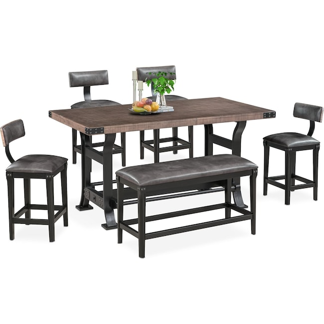 Dining Room Furniture - Newcastle Counter-Height Dining Table, 4 Stools and Bench - Gray
