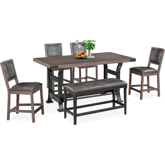 Dining Room Furniture - Newcastle Counter-Height Dining Table, 4 Side Chairs and Bench - Gray