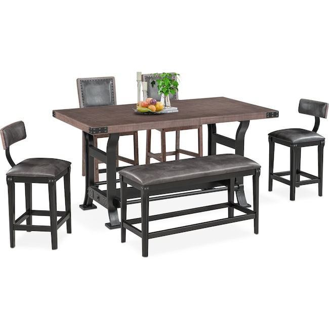 Dining Room Furniture - Newcastle Counter-Height Dining Table, 2 Side Chairs, 2 Stools and Bench - Gray