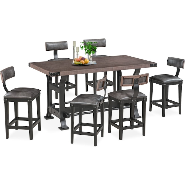 Dining Room Furniture - Newcastle Counter-Height Dining Table and 6 Stools - Gray