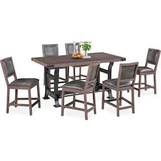 Newcastle Counter-Height Dining Table and 6 Dining Chairs - Gray