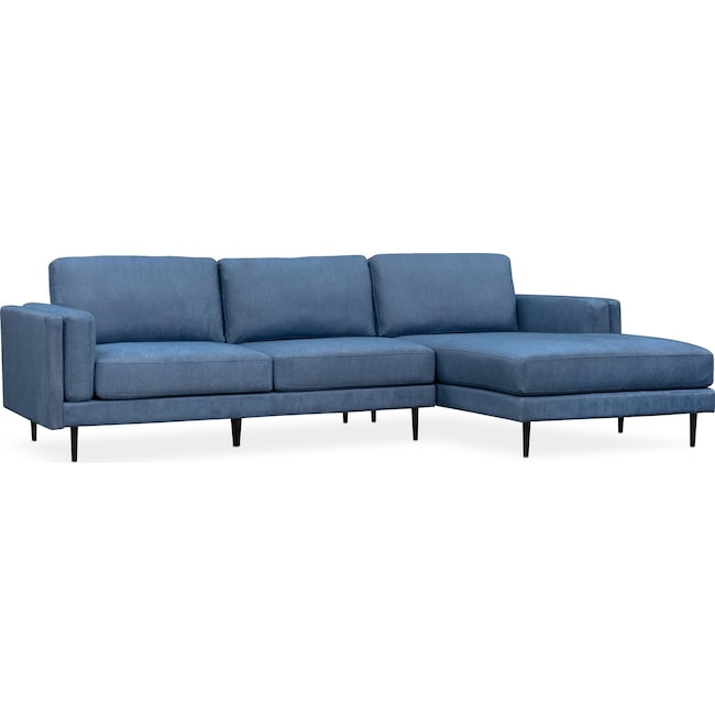 Living Room Furniture - West End 2-Piece Sectional with Right-Facing Chaise - Blue