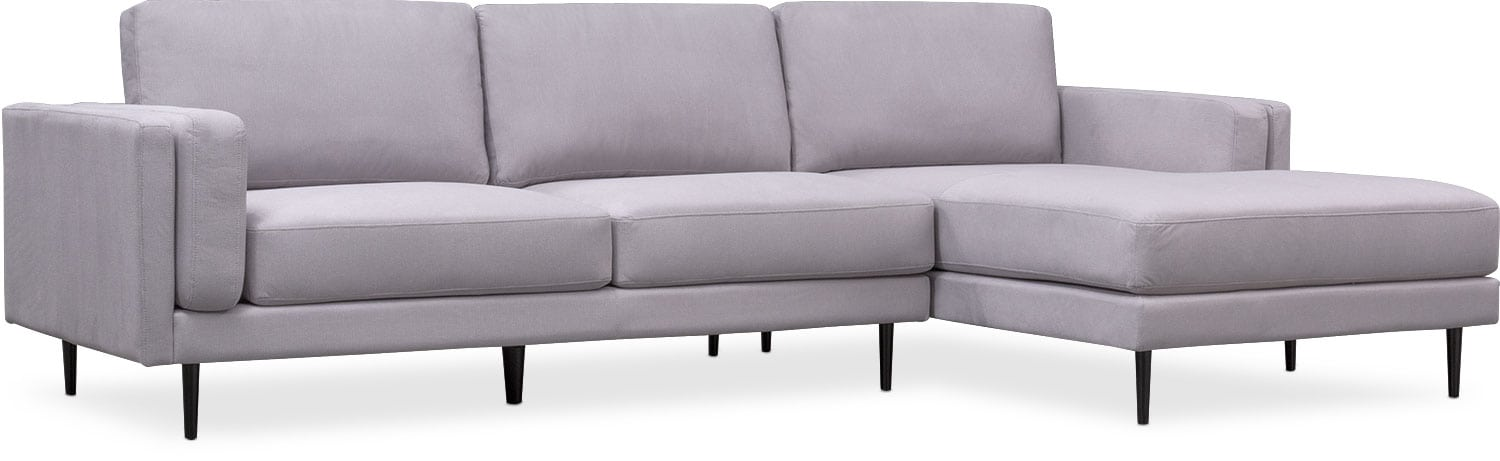 West End 2 Piece Sectional With Right Facing Chaise   Light Gray