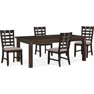 Hampton Dining Table and 4 Dining Chairs - Cocoa