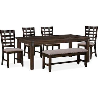 Hampton Dining Table, 4 Side Chairs and Storage Bench - Cocoa