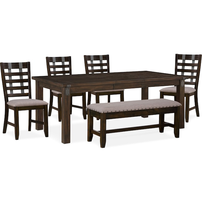 Dining Room Furniture - Hampton Dining Table, 4 Side Chairs and Storage Bench - Cocoa