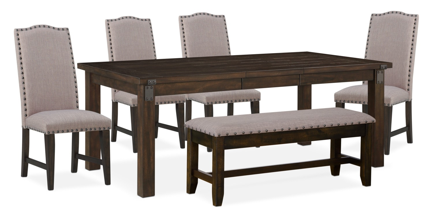 Hampton dining table 4 upholstered side chairs and for Upholstered dining table bench with back