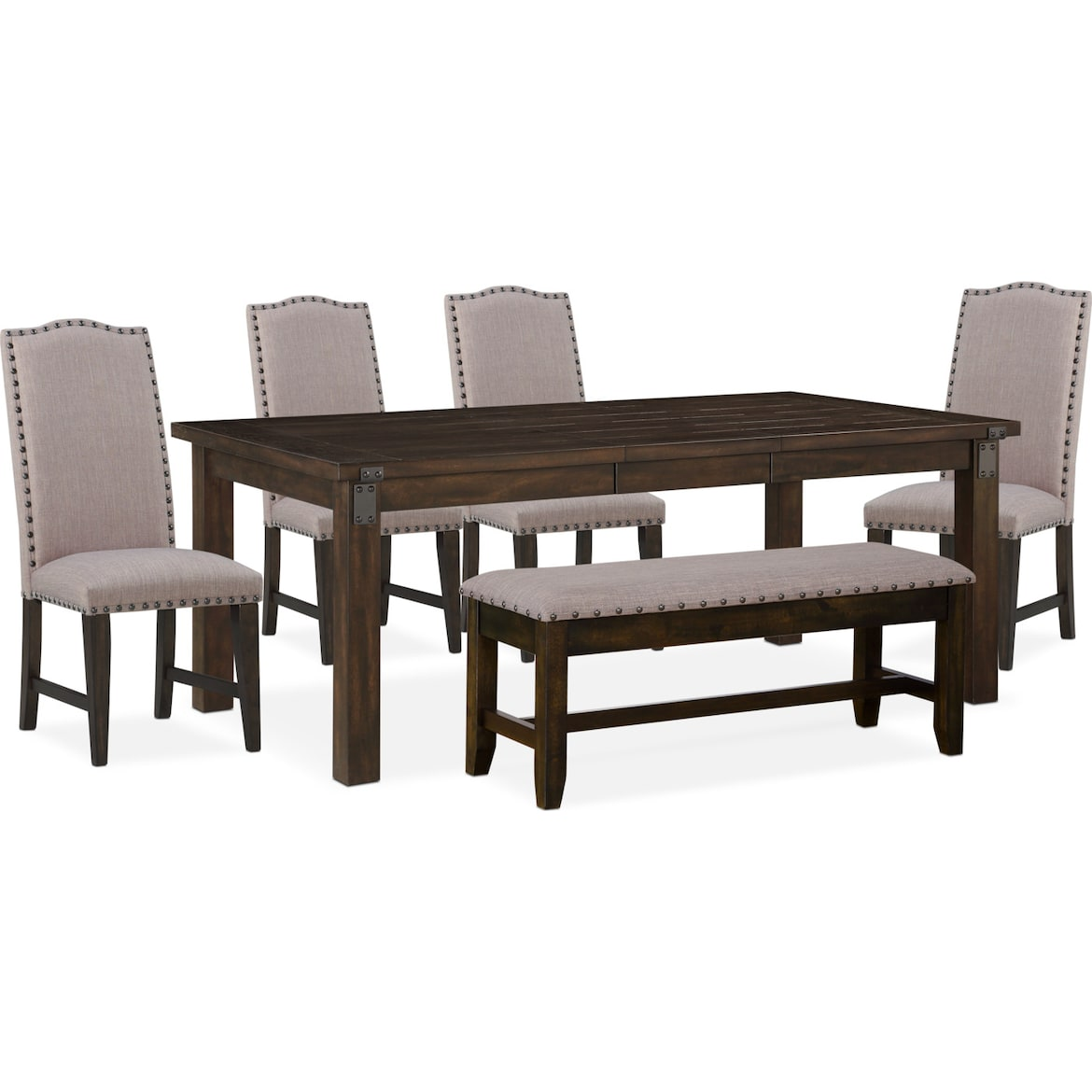 Dining Table Storage Bench: Hampton Dining Table, 4 Upholstered Side Chairs And
