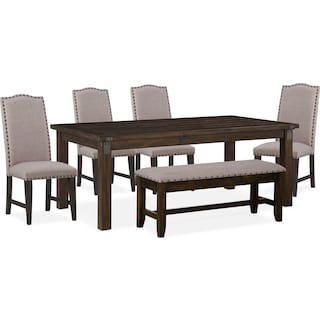 Hampton Dining Table, 4 Upholstered Side Chairs and Storage Bench - Cocoa