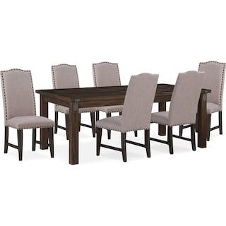 Hampton Dining Table and 6 Upholstered Side Chairs - Cocoa
