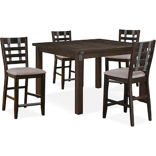 Hampton Counter-Height Dining Table and 4 Stools - Cocoa