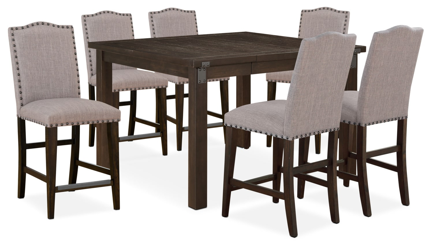 Hampton counter height dining table and 6 upholstered for Dining table size for 6