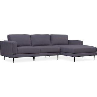West End 2-Piece Sectional with Right-Facing Chaise - Gray