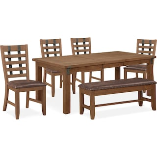 Hampton Dining Table, 4 Dining Chairs and Storage Bench - Sandstone