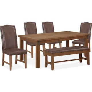 Hampton Dining Table, 4 Upholstered Dining Chairs and Storage Bench - Sandstone