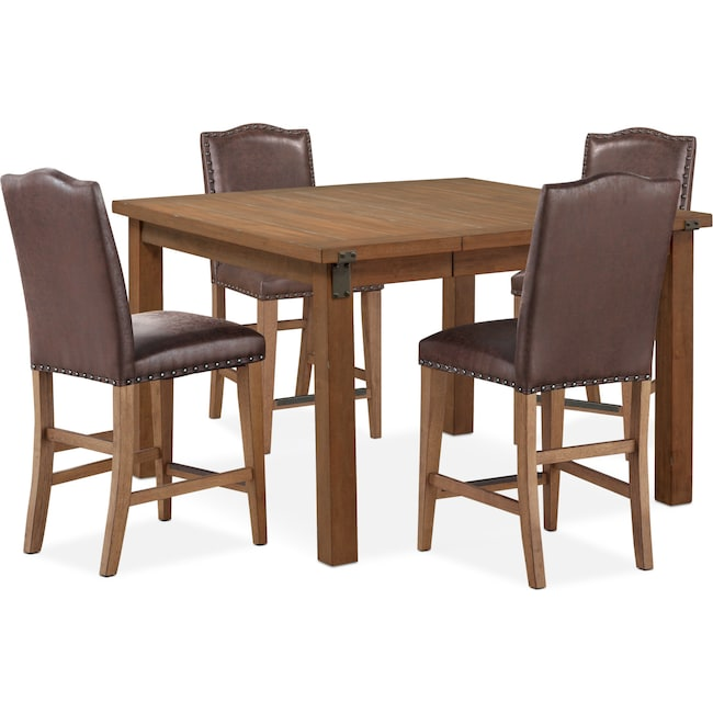 Dining Room Furniture - Hampton Counter-Height Dining Table and 4 Upholstered Stools - Sandstone