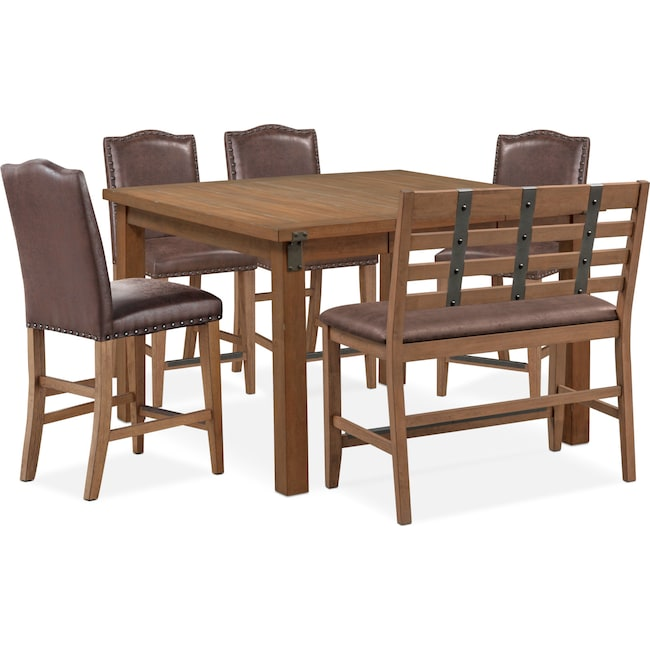 Dining Room Furniture - Hampton Counter-Height Dining Table, 4 Upholstered Stools and Bench