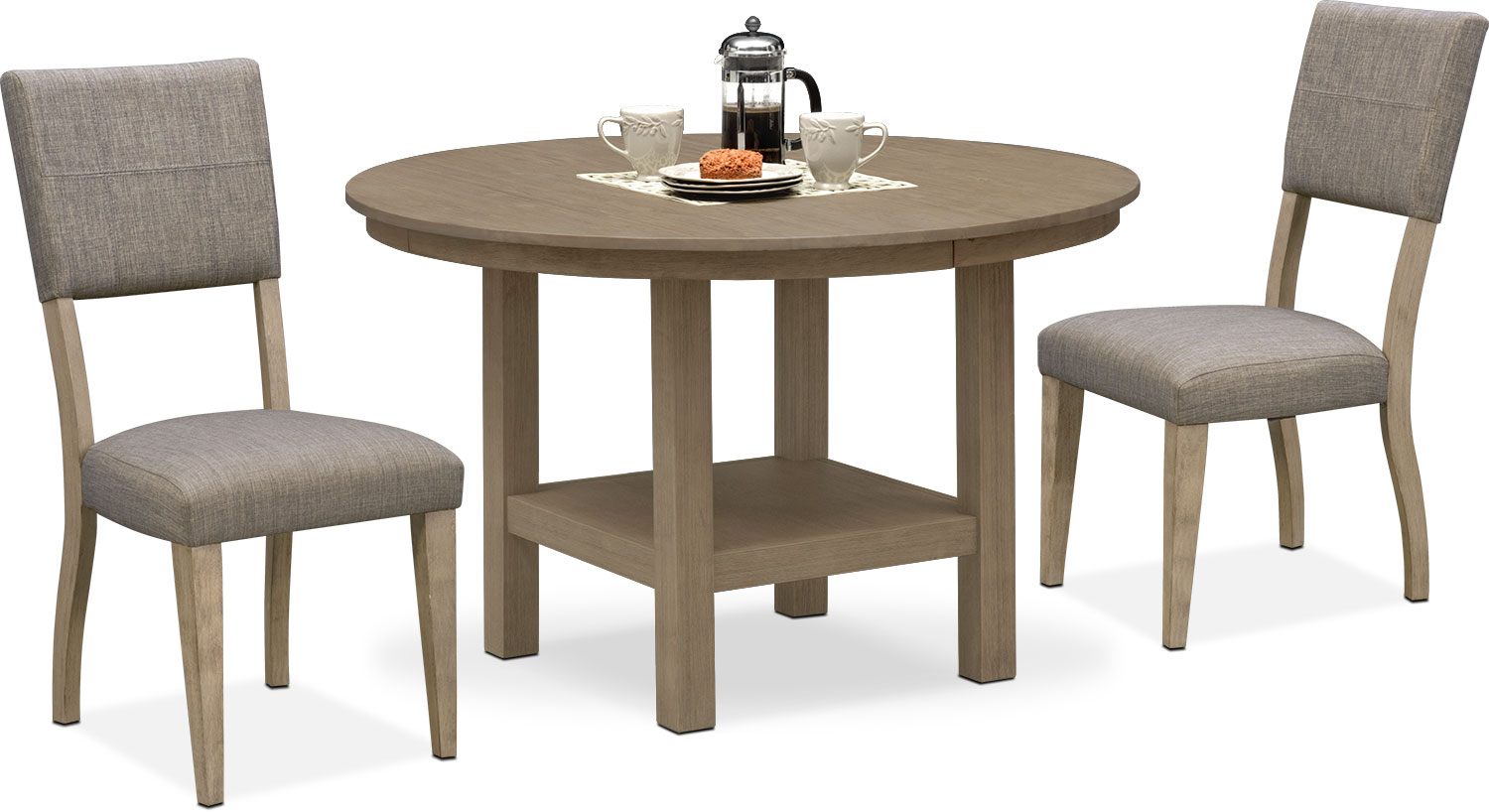 Dining Room Furniture - Tribeca Round Dining Table and 2 Upholstered Dining Chairs