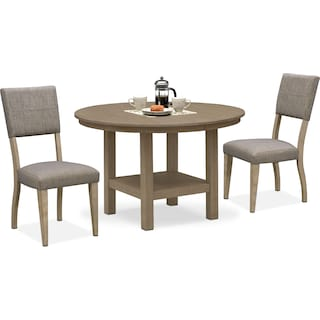 Tribeca Round Dining Table and 2 Upholstered Side Chairs - Gray