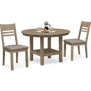 Tribeca Round Dining Table and 2 Side Chairs - Gray