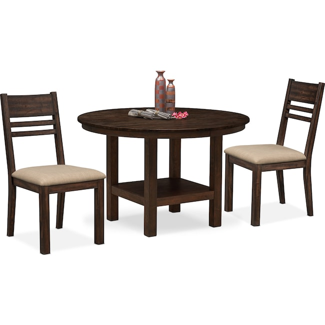 Dining Room Furniture - Tribeca Round Dining Table and 2 Side Chairs - Tobacco