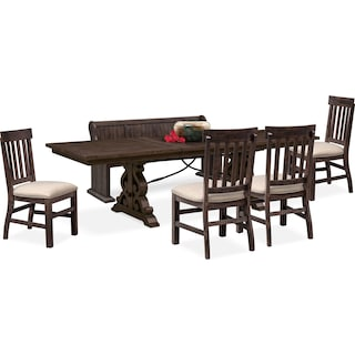 Charthouse Rectangular Dining Table, 4 Side Chairs and Bench - Charcoal