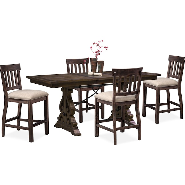 Dining Room Furniture - Charthouse Counter-Height Dining Table and 4 Stools - Charcoal