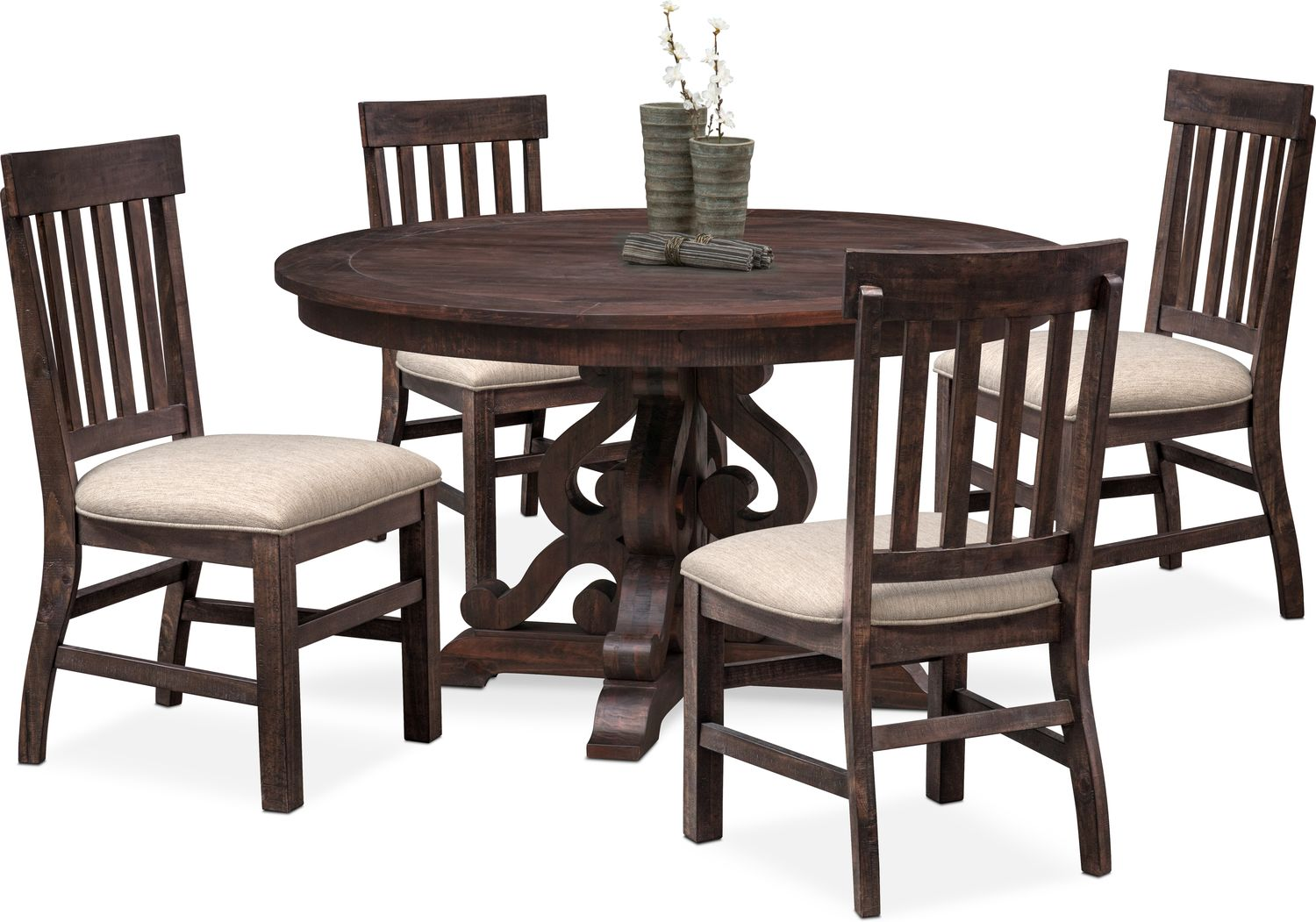 Circular Dining Table And Chairs: Charthouse Round Dining Table And 4 Side Chairs