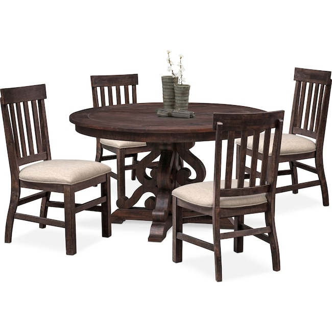 Dining Room Furniture Charthouse Round Table And 4 Side Chairs