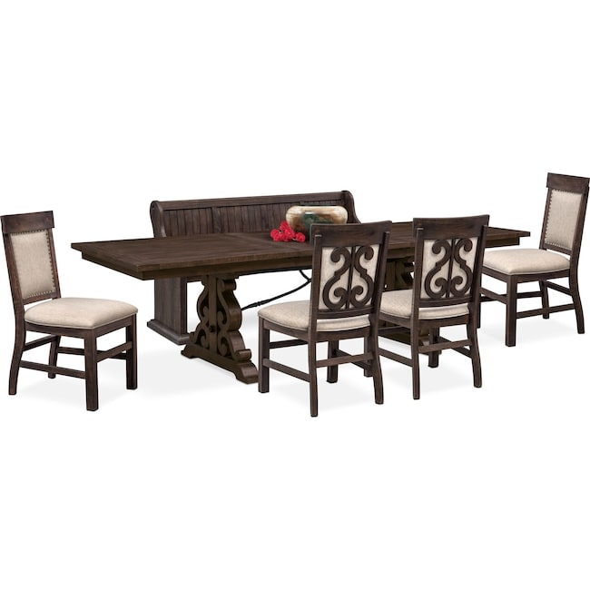 Dining Room Furniture - Charthouse Rectangular Dining Table, 4 Upholstered Side Chairs and Bench - Charcoal