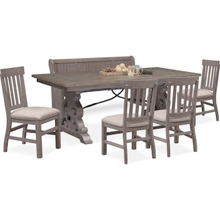 Charthouse Rectangular Dining Table, 4 Side Chairs and Bench - Gray