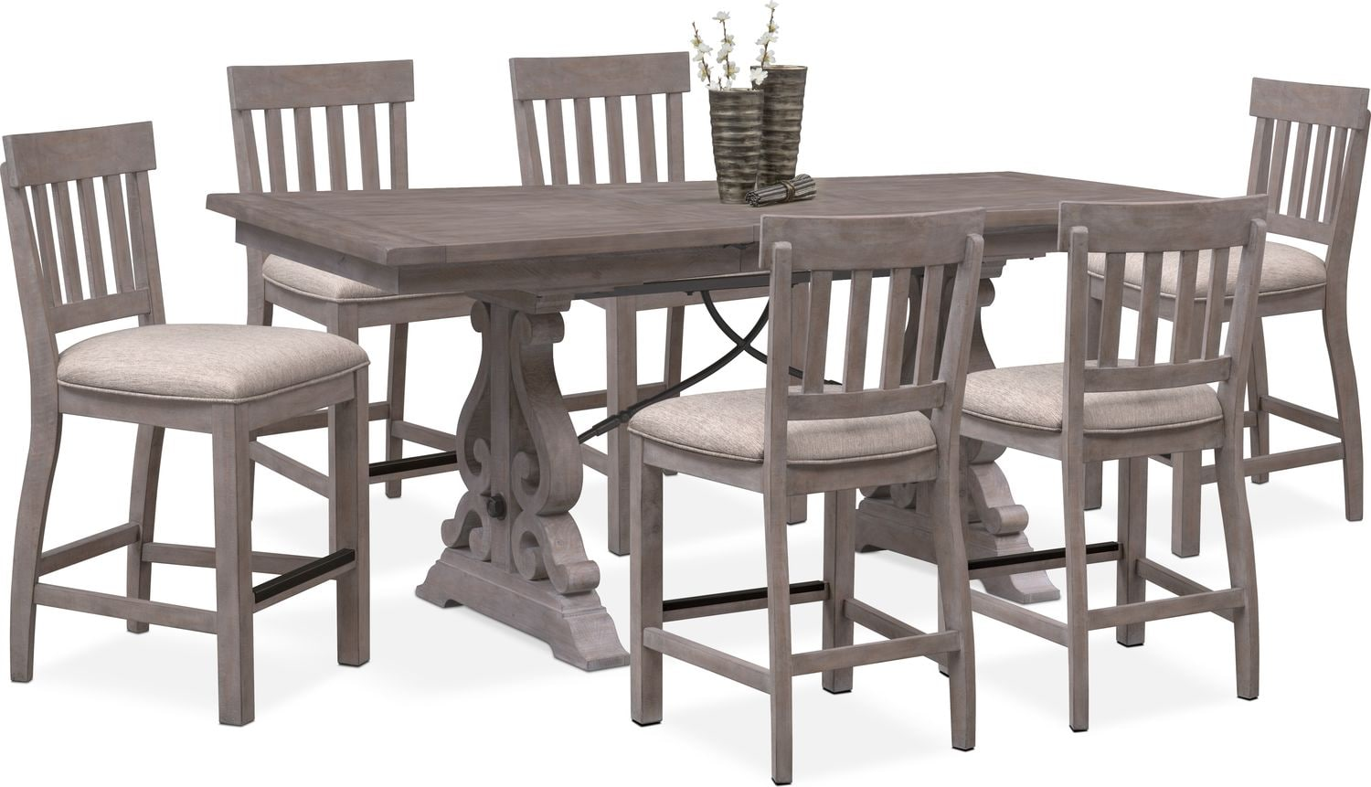 Dining Room Furniture Charthouse Counter Height Table And 6 Stools Gray