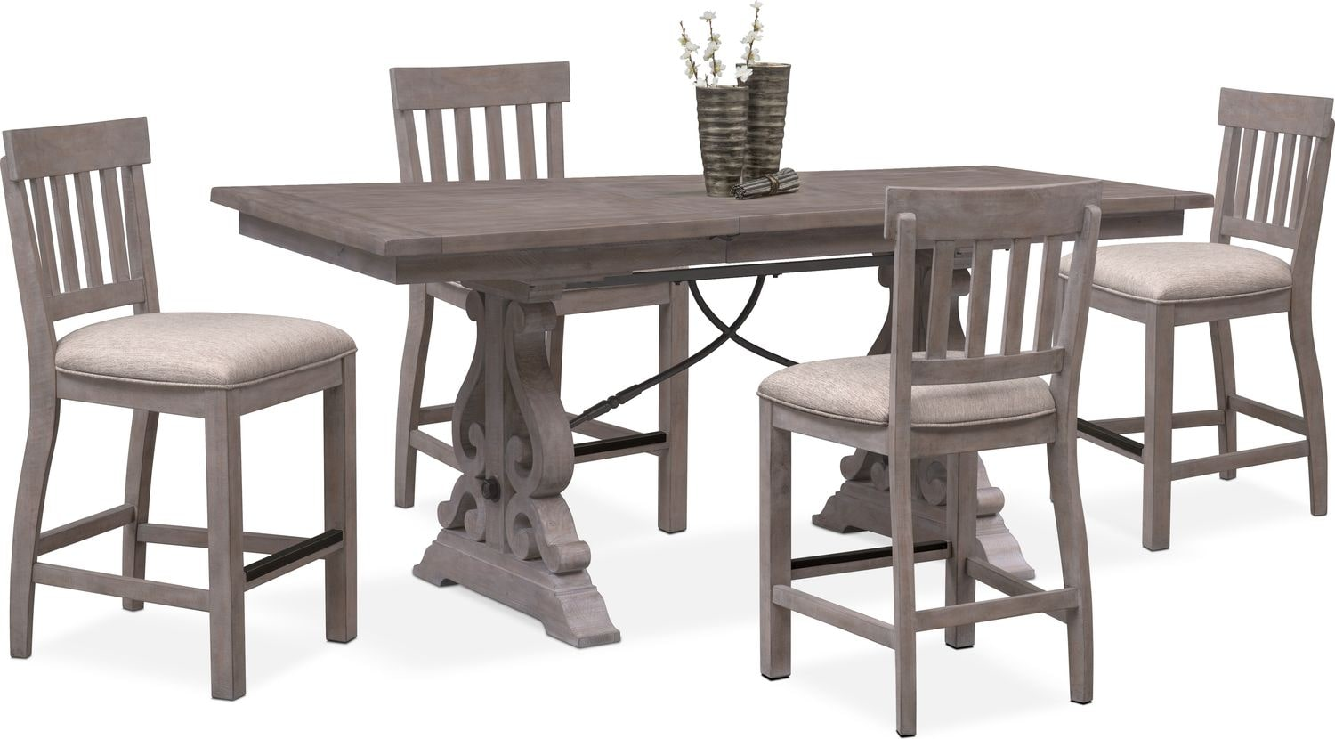 Genial Charthouse Counter Height Dining Table And 4 Stools   Gray