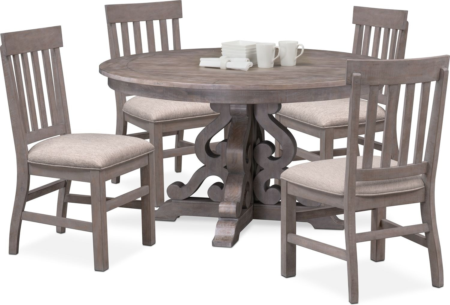 Charthouse Round Dining Table And 4 Side Chairs Gray