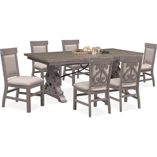 Dining Room Furniture - Charthouse Rectangular Dining Table and 6 Upholstered Side Chairs - Gray
