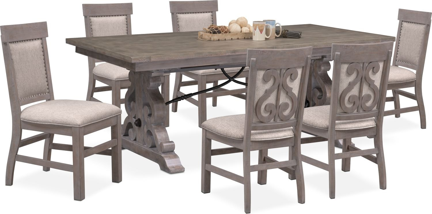 $1,609.93 Charthouse Rectangular Dining Table And 6 Upholstered Side Chairs    Gray
