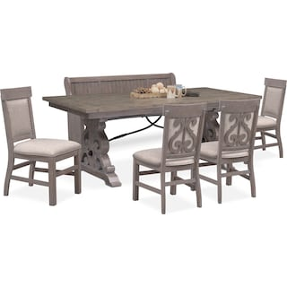 Charthouse Rectangular Dining Table, 4 Upholstered Side Chairs and Bench - Gray