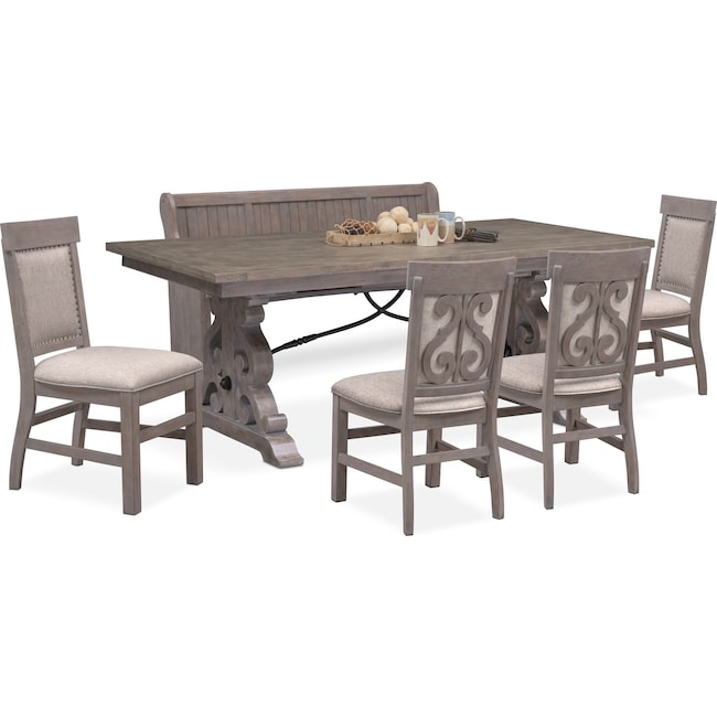Dining Room Furniture - Charthouse Rectangular Dining Table, 4 Upholstered Side Chairs and Bench - Gray
