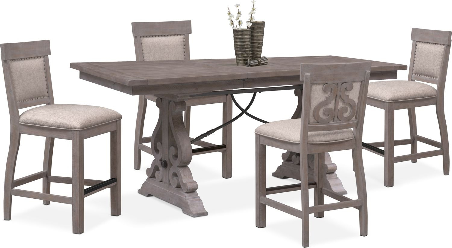 Charthouse Counter Height Dining Table And 4 Upholstered Stools