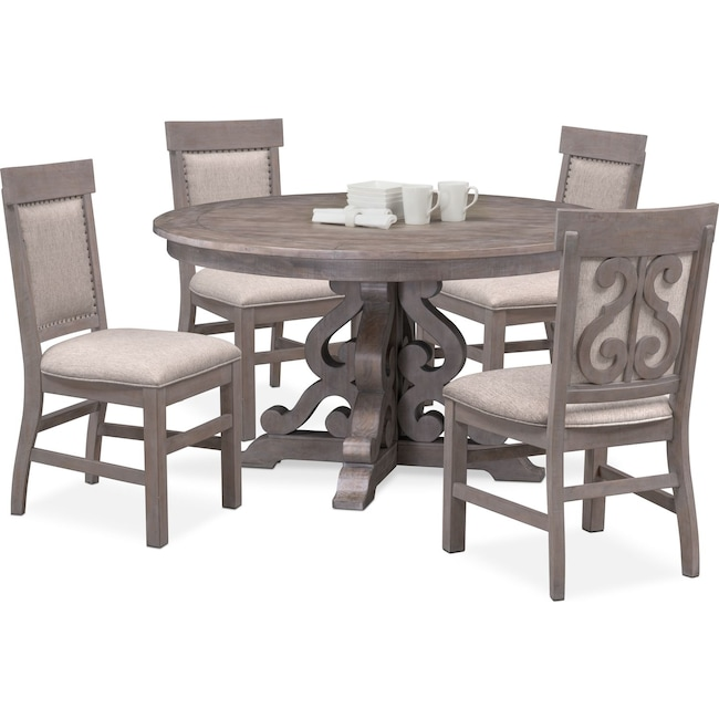 Dining Room Furniture - Charthouse Round Dining Table and 4 Upholstered Side Chairs - Gray