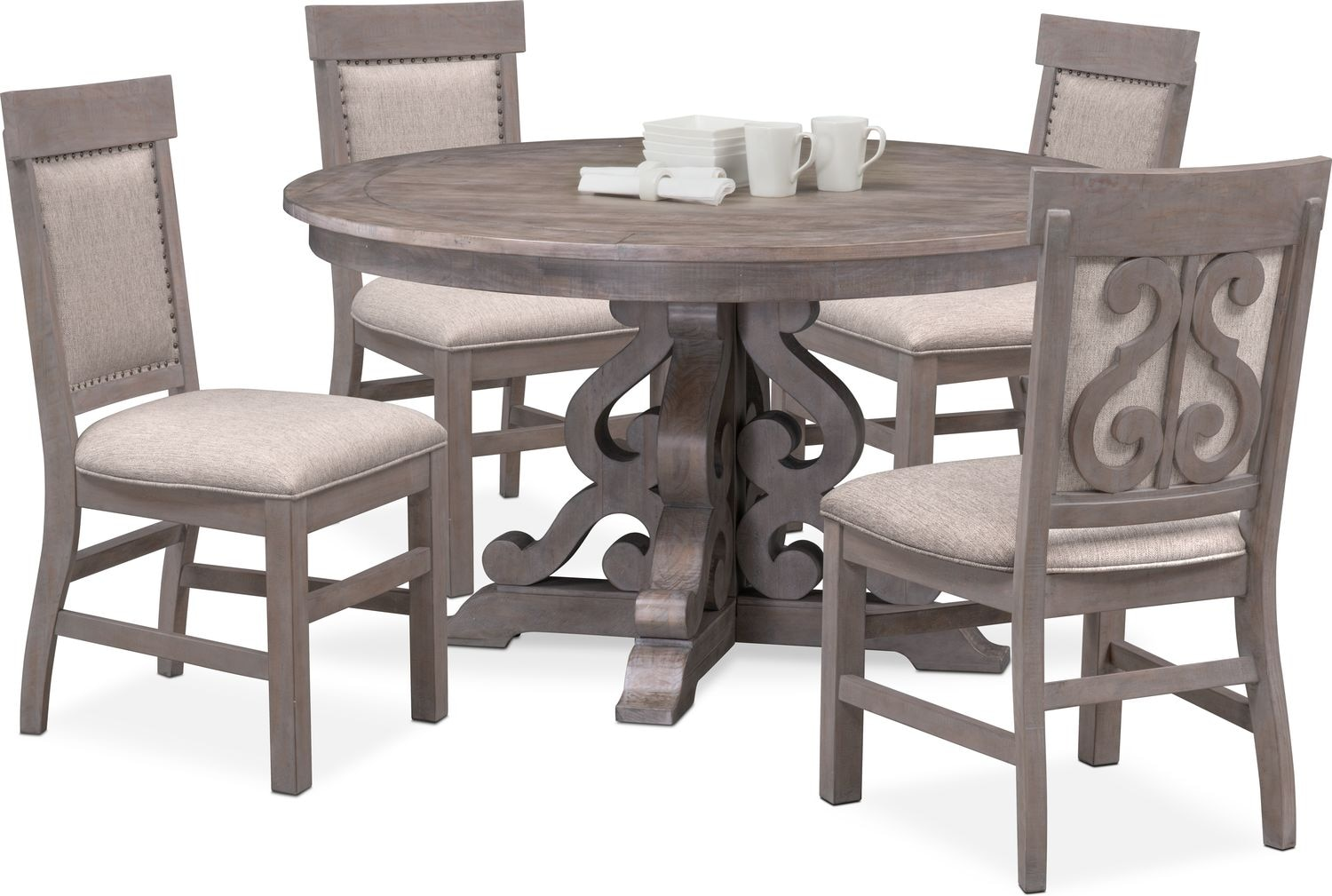 $1,069.95 Charthouse Round Dining Table And 4 Upholstered Side Chairs   Gray