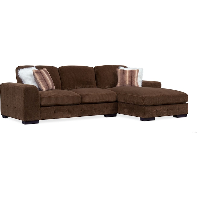 Living Room Furniture - Terry 2-Piece Sectional with Right-Facing Chaise - Chocolate